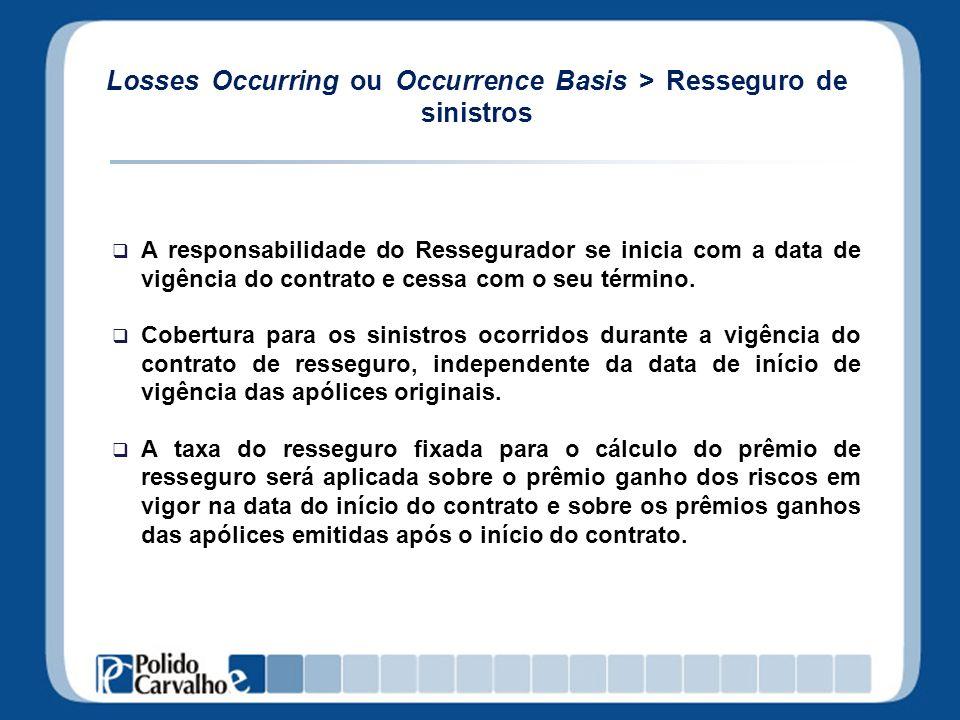 Losses Occurring ou Occurrence Basis > Resseguro de sinistros A responsabilidade do Ressegurador se inicia com a data de vigência do contrato e cessa