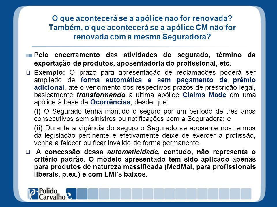 CM não renovada Premissa: a última apólice CM terá a sua vigência encerrada no dia do término previsto no contrato de seguro, cessando qualquer responsabilidade para a Seguradora.