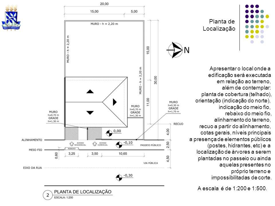 Apresentar o local onde a edificação será executada em relação ao terreno, além de contemplar: planta de cobertura (telhado), orientação (indicação do