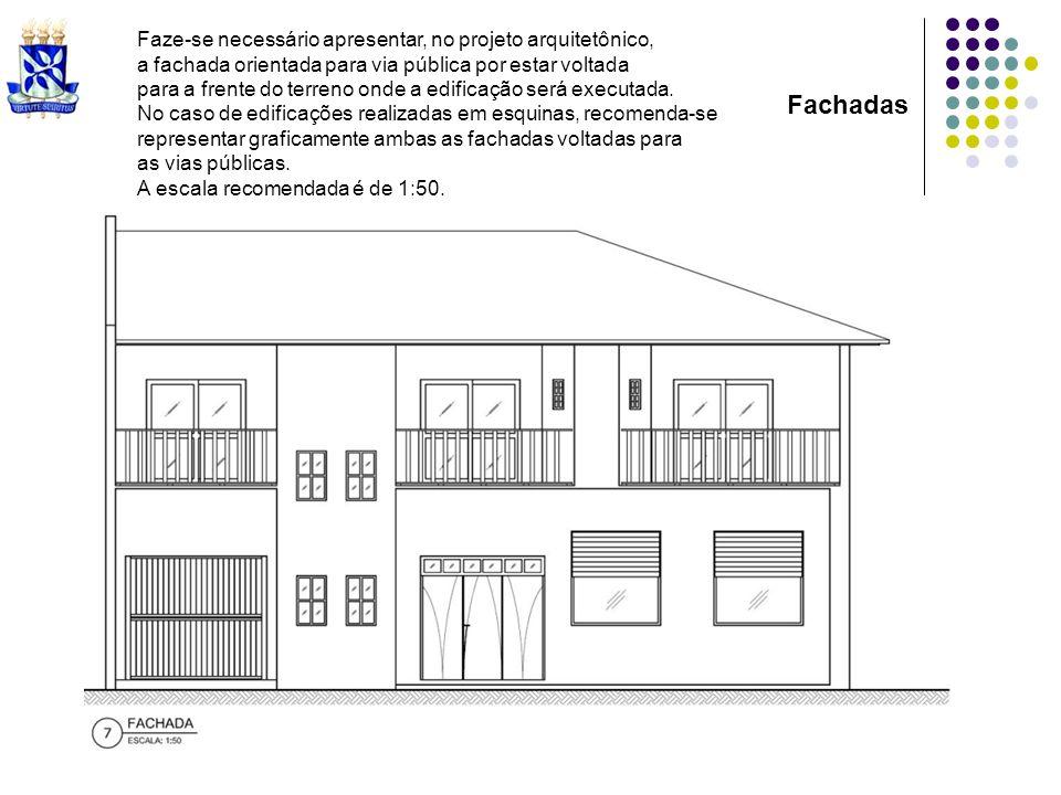 Faze-se necessário apresentar, no projeto arquitetônico, a fachada orientada para via pública por estar voltada para a frente do terreno onde a edific