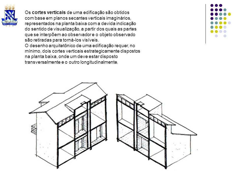 Os cortes verticais de uma edificação são obtidos com base em planos secantes verticais imaginários, representados na planta baixa com a devida indica