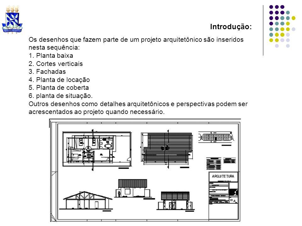 Os desenhos que fazem parte de um projeto arquitetônico são inseridos nesta sequência: 1. Planta baixa 2. Cortes verticais 3. Fachadas 4. Planta de lo