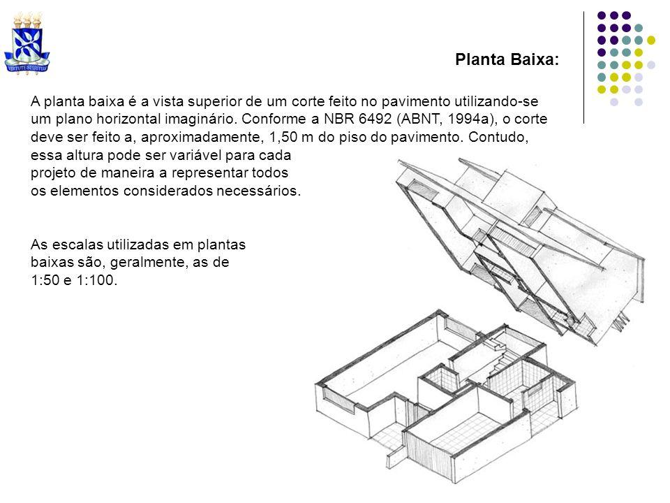 Planta Baixa: A planta baixa é a vista superior de um corte feito no pavimento utilizando-se um plano horizontal imaginário. Conforme a NBR 6492 (ABNT