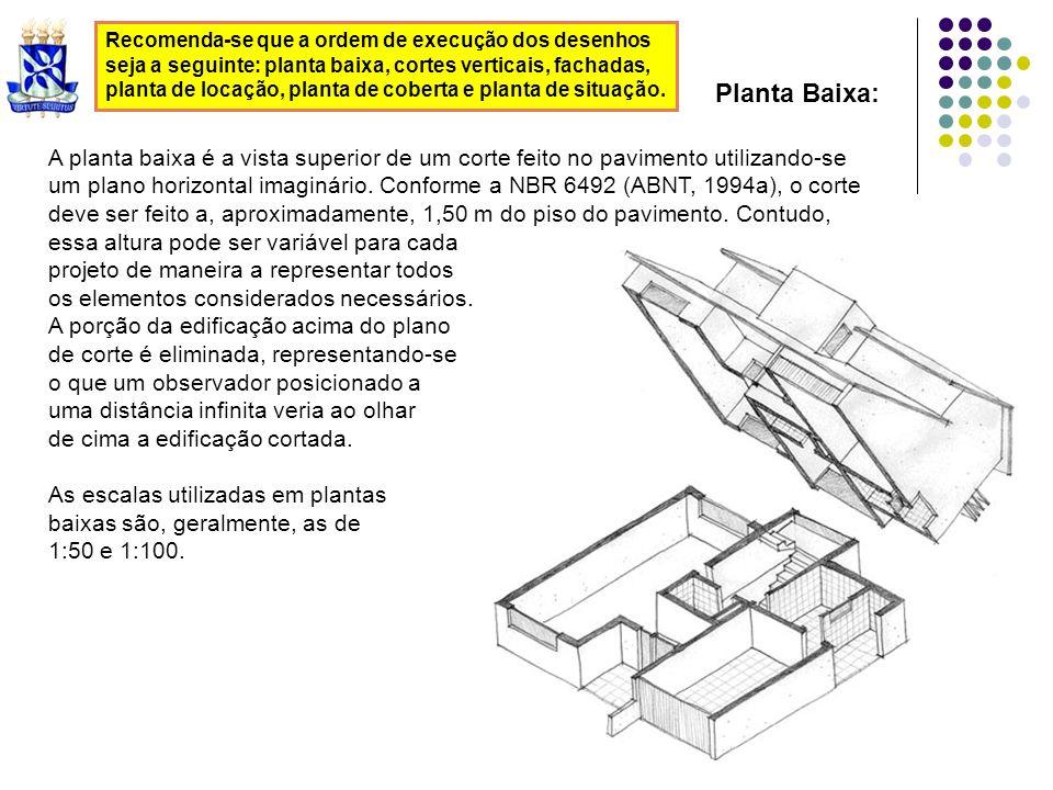 Recomenda-se que a ordem de execução dos desenhos seja a seguinte: planta baixa, cortes verticais, fachadas, planta de locação, planta de coberta e pl