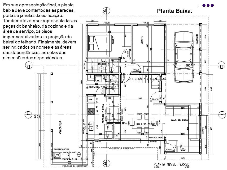 Planta Baixa: Em sua apresentação final, a planta baixa deve conter todas as paredes, portas e janelas da edificação. Também devem ser representadas a