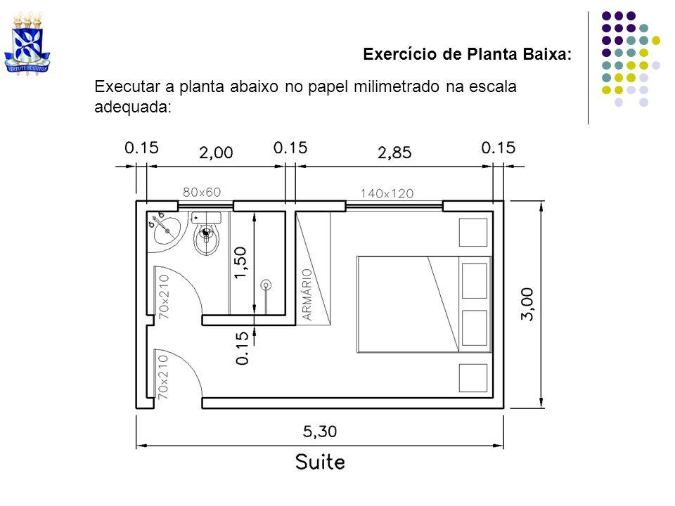 Exercício de Planta Baixa: Executar a planta abaixo no papel milimetrado na escala adequada: