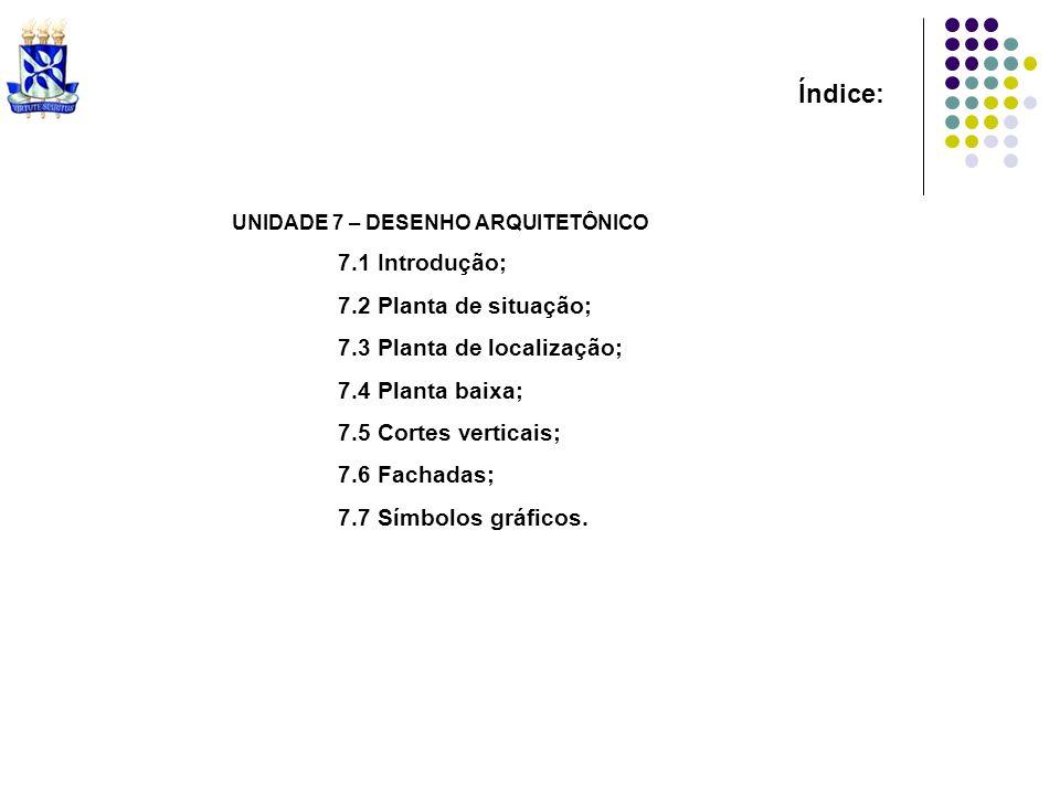 Índice: UNIDADE 7 – DESENHO ARQUITETÔNICO 7.1 Introdução; 7.2 Planta de situação; 7.3 Planta de localização; 7.4 Planta baixa; 7.5 Cortes verticais; 7