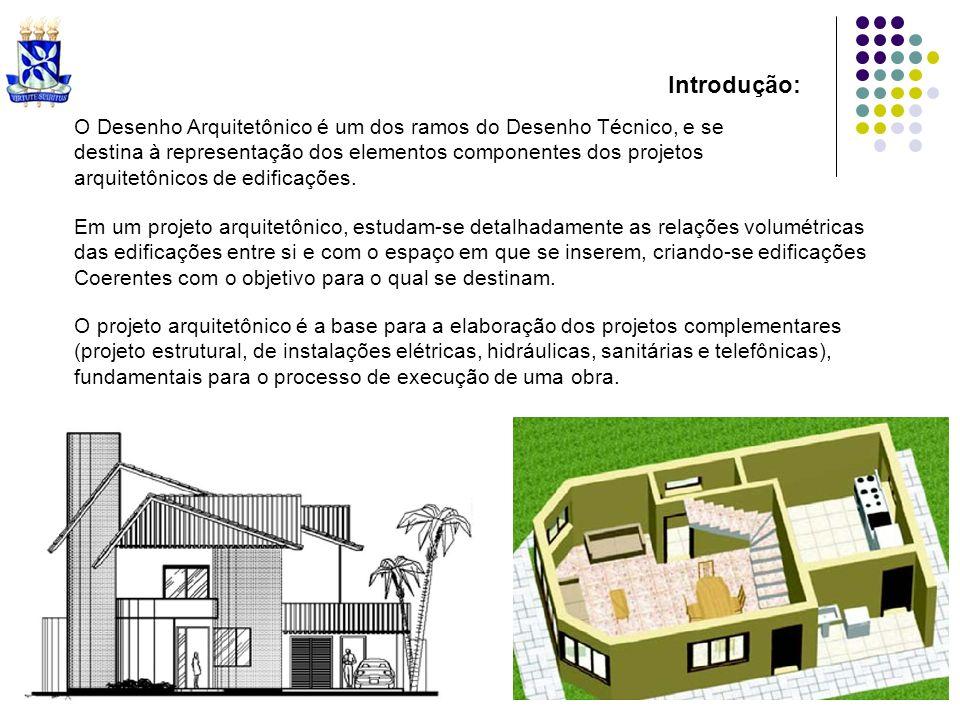 Introdução: O Desenho Arquitetônico é um dos ramos do Desenho Técnico, e se destina à representação dos elementos componentes dos projetos arquitetôni