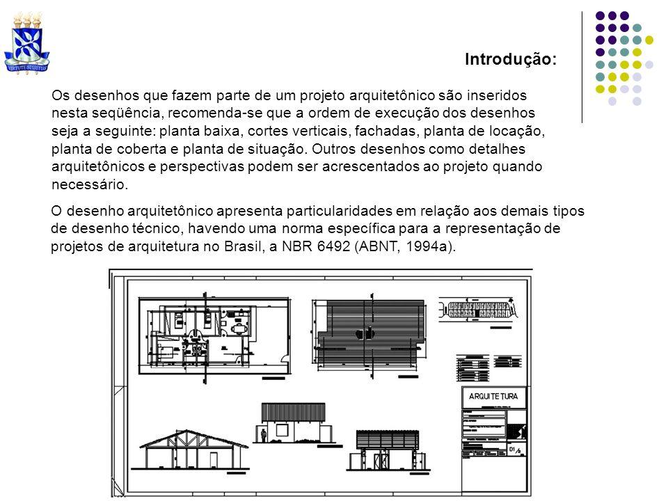 Os desenhos que fazem parte de um projeto arquitetônico são inseridos nesta seqüência, recomenda-se que a ordem de execução dos desenhos seja a seguin