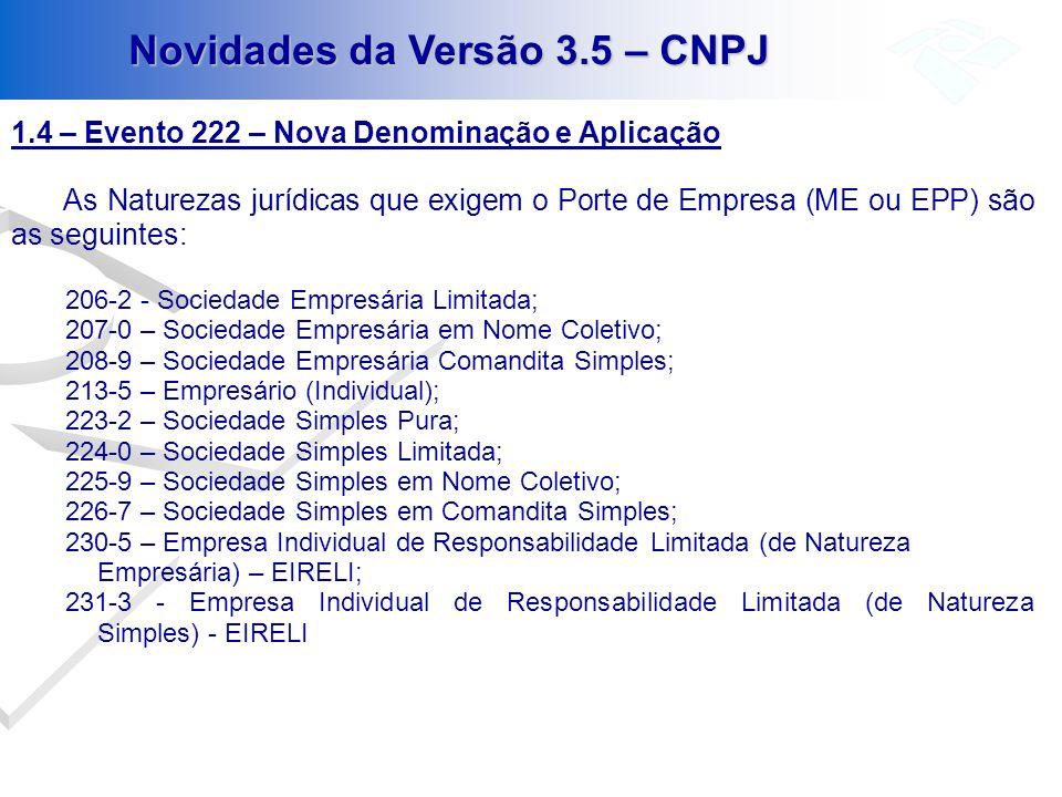 1.4 – Evento 222 – Nova Denominação e Aplicação As Naturezas jurídicas que exigem o Porte de Empresa (ME ou EPP) são as seguintes: 206-2 - Sociedade E