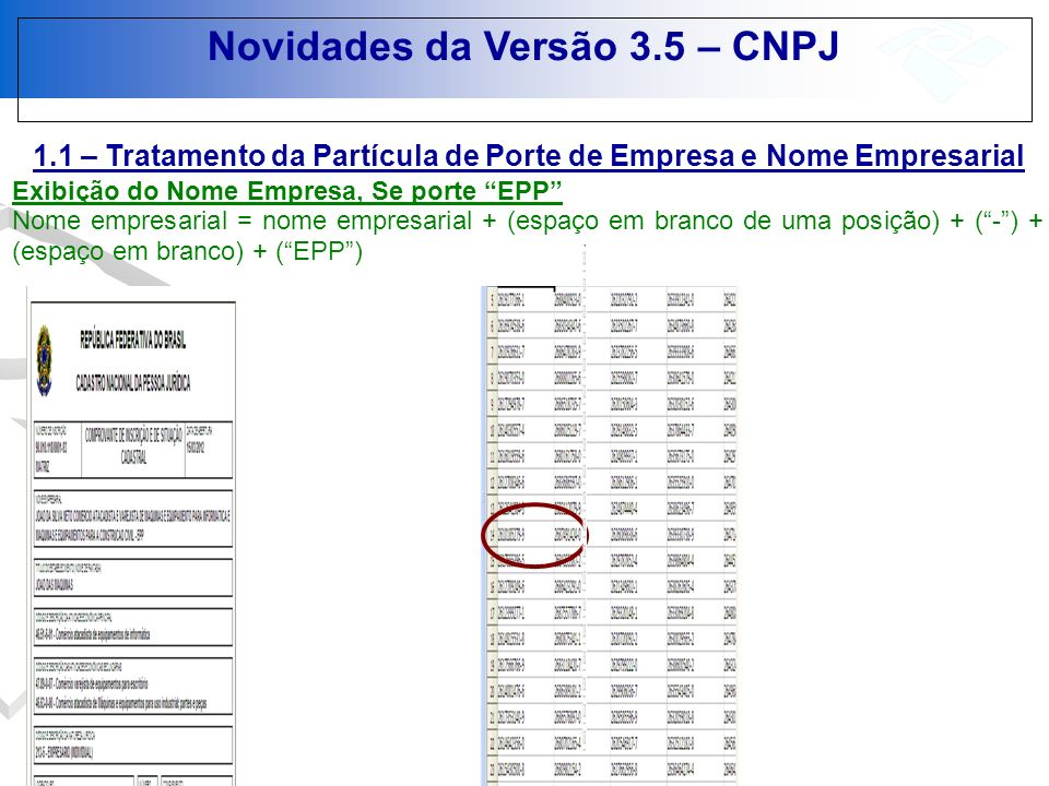 Novidades da Versão 3.5 – CNPJ 1.1 – Tratamento da Partícula de Porte de Empresa e Nome Empresarial Exibição do Nome Empresa, Se porte EPP Nome empres
