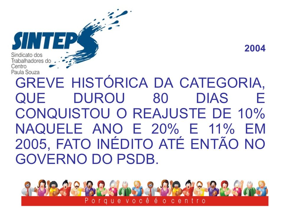 2004 GREVE HISTÓRICA DA CATEGORIA, QUE DUROU 80 DIAS E CONQUISTOU O REAJUSTE DE 10% NAQUELE ANO E 20% E 11% EM 2005, FATO INÉDITO ATÉ ENTÃO NO GOVERNO