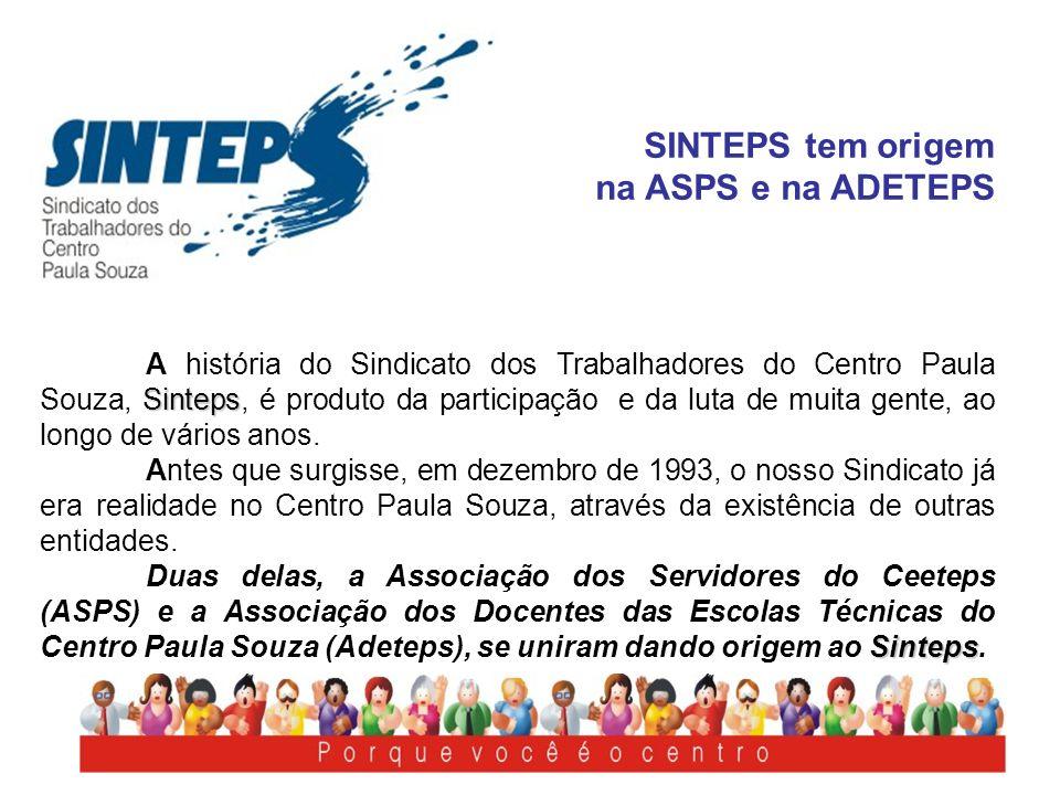 SINTEPS tem origem na ASPS e na ADETEPS Sinteps A história do Sindicato dos Trabalhadores do Centro Paula Souza, Sinteps, é produto da participação e