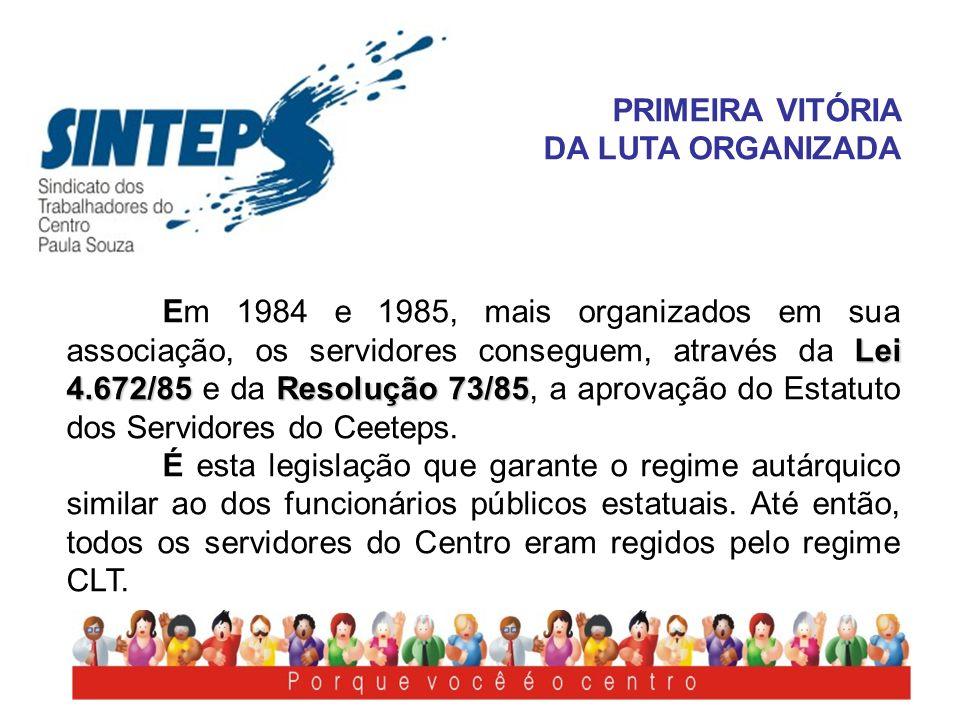 PRIMEIRA VITÓRIA DA LUTA ORGANIZADA Lei 4.672/85Resolução 73/85 Em 1984 e 1985, mais organizados em sua associação, os servidores conseguem, através d
