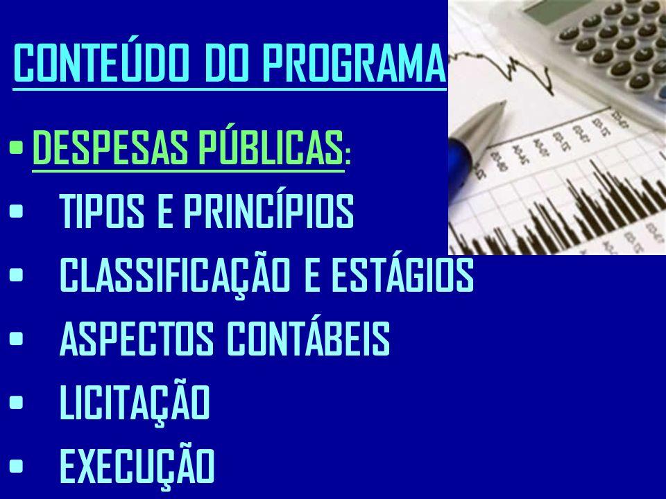 CONTEÚDO DO PROGRAMA DESPESAS PÚBLICAS : TIPOS E PRINCÍPIOS CLASSIFICAÇÃO E ESTÁGIOS ASPECTOS CONTÁBEIS LICITAÇÃO EXECUÇÃO
