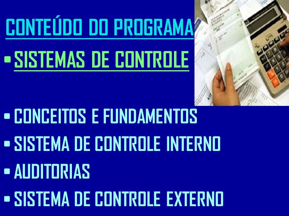 CONTEÚDO DO PROGRAMA SISTEMAS DE CONTROLE CONCEITOS E FUNDAMENTOS SISTEMA DE CONTROLE INTERNO AUDITORIAS SISTEMA DE CONTROLE EXTERNO