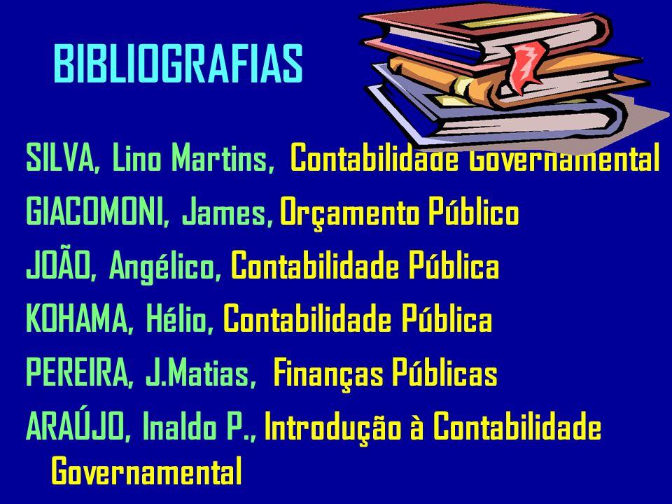 BIBLIOGRAFIAS SILVA, Lino Martins, Contabilidade Governamental GIACOMONI, James, Orçamento Público JOÃO, Angélico, Contabilidade Pública KOHAMA, Hélio