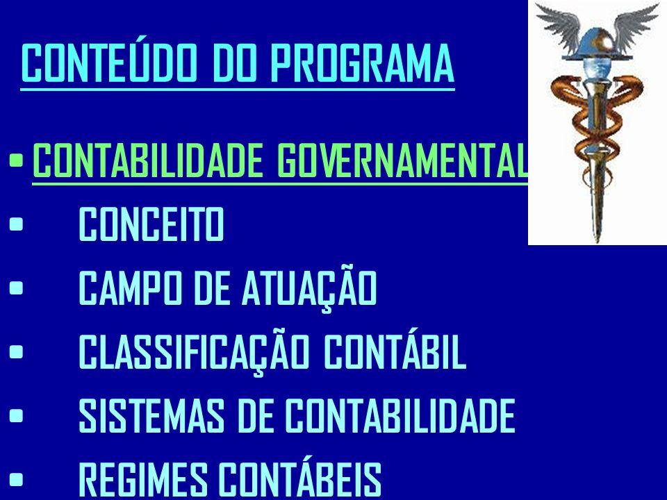CONTEÚDO DO PROGRAMA CONTABILIDADE GOVERNAMENTAL : CONCEITO CAMPO DE ATUAÇÃO CLASSIFICAÇÃO CONTÁBIL SISTEMAS DE CONTABILIDADE REGIMES CONTÁBEIS