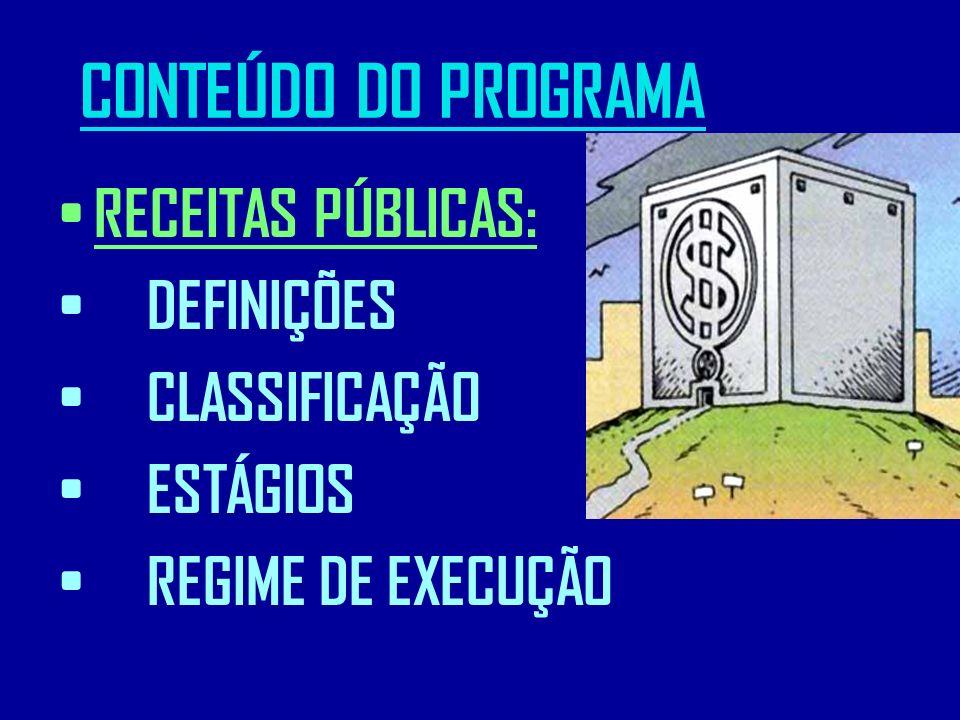 CONTEÚDO DO PROGRAMA RECEITAS PÚBLICAS: DEFINIÇÕES CLASSIFICAÇÃO ESTÁGIOS REGIME DE EXECUÇÃO