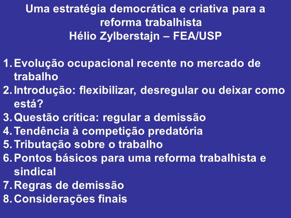 Uma estratégia democrática e criativa para a reforma trabalhista Hélio Zylberstajn – FEA/USP 1.Evolução ocupacional recente no mercado de trabalho 2.I
