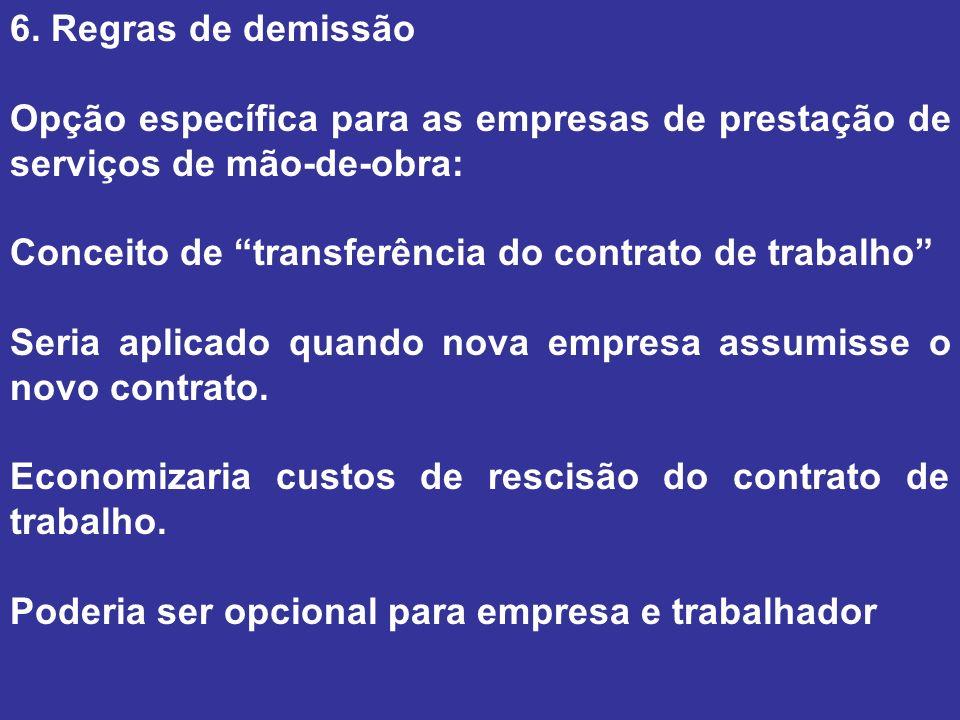 6. Regras de demissão Opção específica para as empresas de prestação de serviços de mão-de-obra: Conceito de transferência do contrato de trabalho Ser