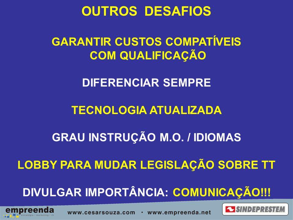 OUTROS DESAFIOS GARANTIR CUSTOS COMPATÍVEIS COM QUALIFICAÇÃO DIFERENCIAR SEMPRE TECNOLOGIA ATUALIZADA GRAU INSTRUÇÃO M.O.