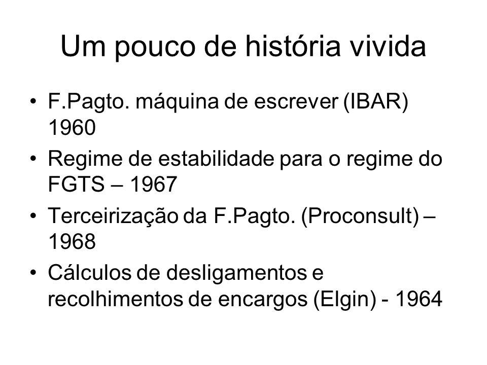 Um pouco de história vivida F.Pagto. máquina de escrever (IBAR) 1960 Regime de estabilidade para o regime do FGTS – 1967 Terceirização da F.Pagto. (Pr
