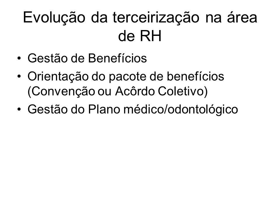 Evolução da terceirização na área de RH Gestão de Benefícios Orientação do pacote de benefícios (Convenção ou Acôrdo Coletivo) Gestão do Plano médico/