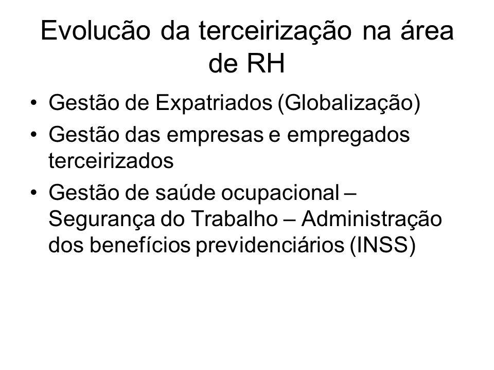 Evolucão da terceirização na área de RH Gestão de Expatriados (Globalização) Gestão das empresas e empregados terceirizados Gestão de saúde ocupaciona