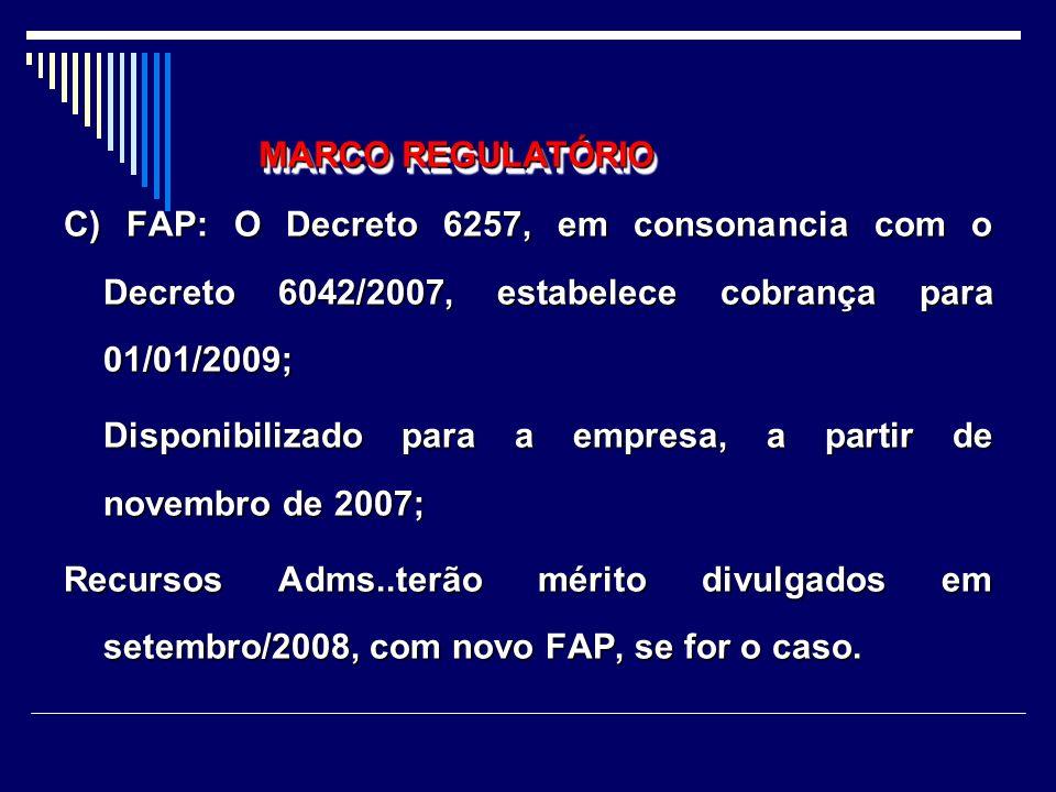 A)Nexo Técnico: 01 de abril de 2007-; Prazo para impugnação do nexo: 15 dias da apresentação das GFIPS, ou 30 de dezembro de 2007, para impugnação dos eventos (CNAE X CID- Decreto 6257/07) ; B)novas alíquotas do SAT- reenquadramento: 01/6/2007; DECRETO 6267/2007 MARCO REGULATÓRIO DECRETO 6267/2007 MARCO REGULATÓRIO