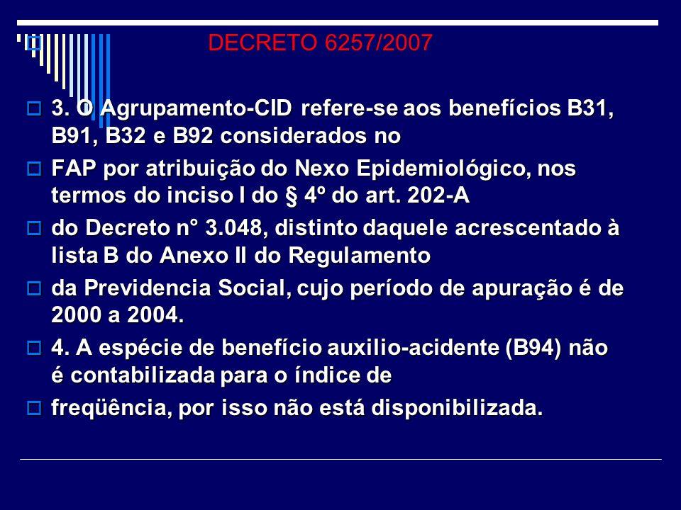 DECRETO 6257/2007 2.1. A quantidade por espécie de beneficios - auxílio doença previdenciário (B31), 2.1. A quantidade por espécie de beneficios - aux