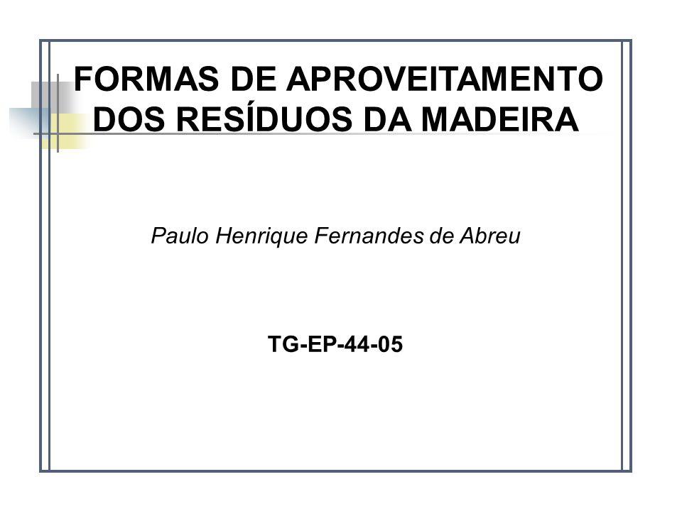 FORMAS DE APROVEITAMENTO DOS RESÍDUOS DA MADEIRA Paulo Henrique Fernandes de Abreu TG-EP-44-05