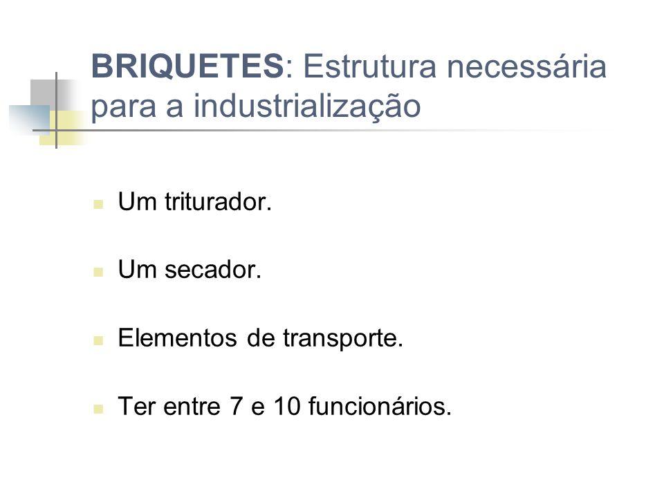 BRIQUETES: Estrutura necessária para a industrialização Capital em torno de 250.000,00. Área em torno de 4000 m³. Uma briquetadeira. 2 silos (com um d