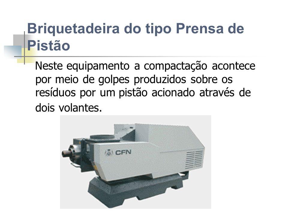 BRIQUETADEIRA Existem no mercado 3 tipos de máquinas: Briquetadeira do tipo Prensa de Pistão Briquetadeira por extrusão Peletizadora
