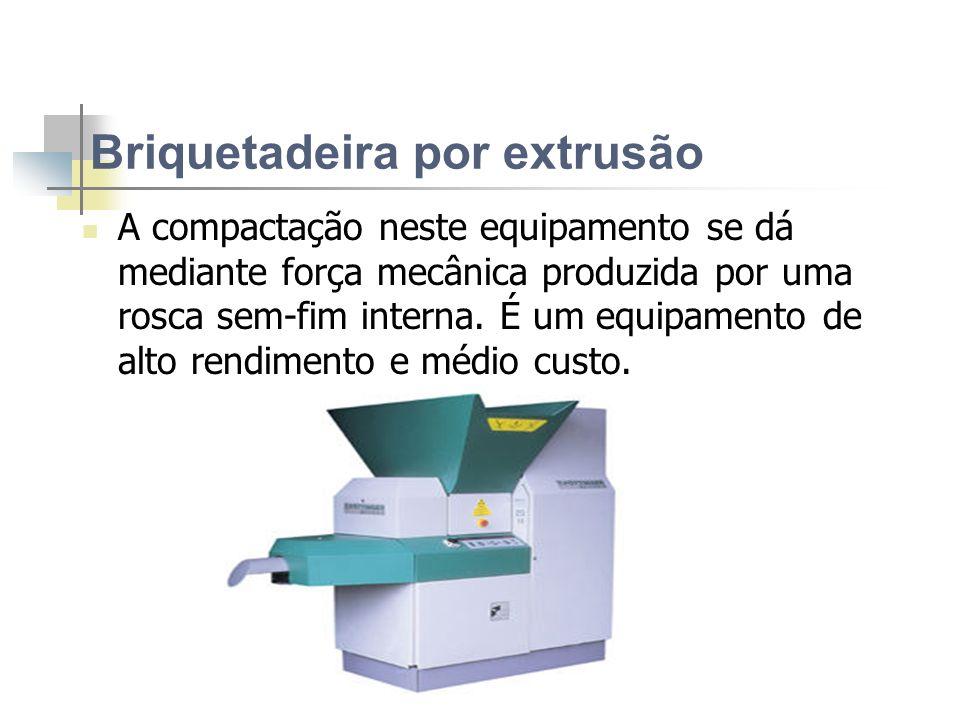 Briquetadeira do tipo Prensa de Pistão Densidade: 1.000 a 1.300 kg/m3 Consumo: 20 a 60 kWh/t Produção: 200 a 1.500 kg/h Poder Calorífico: 4.800 kcal/k