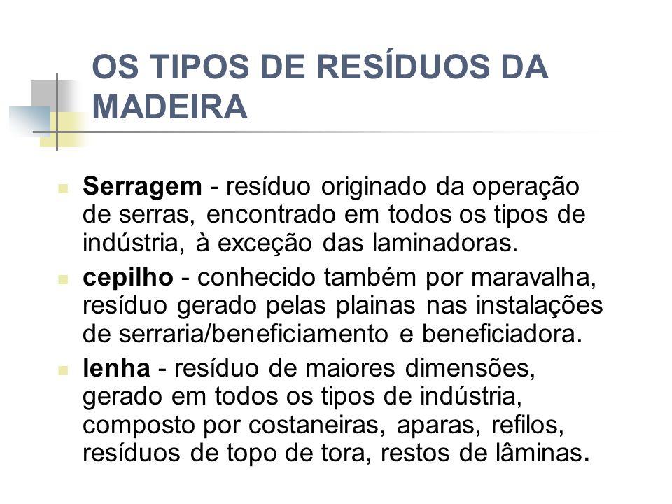 OS TIPOS DE RESÍDUOS DA MADEIRA Serragem - resíduo originado da operação de serras, encontrado em todos os tipos de indústria, à exceção das laminadoras.