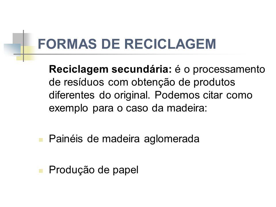 FORMAS DE RECICLAGEM Reciclagem secundária: é o processamento de resíduos com obtenção de produtos diferentes do original.