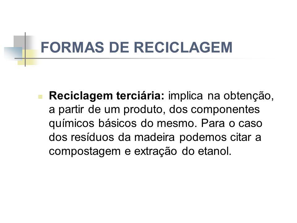 FORMAS DE RECICLAGEM Reciclagem terciária: implica na obtenção, a partir de um produto, dos componentes químicos básicos do mesmo.