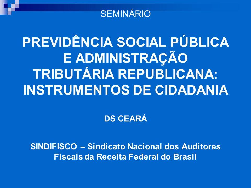 SEMINÁRIO PREVIDÊNCIA SOCIAL PÚBLICA E ADMINISTRAÇÃO TRIBUTÁRIA REPUBLICANA: INSTRUMENTOS DE CIDADANIA DS CEARÁ SINDIFISCO – Sindicato Nacional dos Au