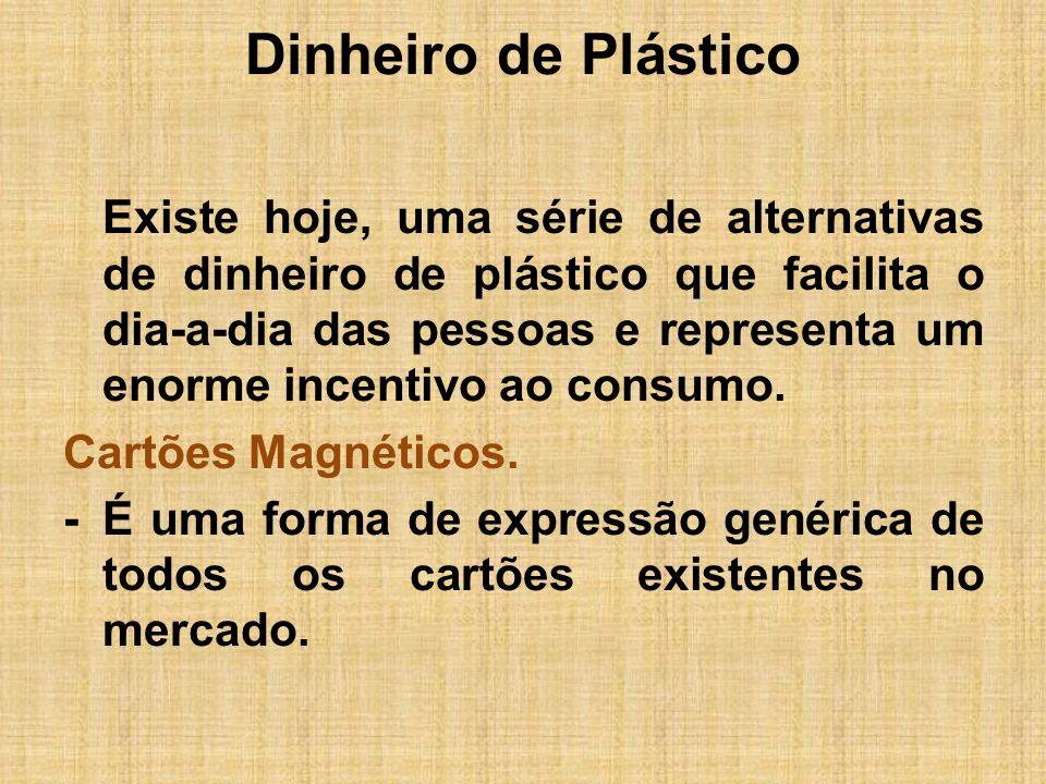 Dinheiro de Plástico Existe hoje, uma série de alternativas de dinheiro de plástico que facilita o dia-a-dia das pessoas e representa um enorme incent