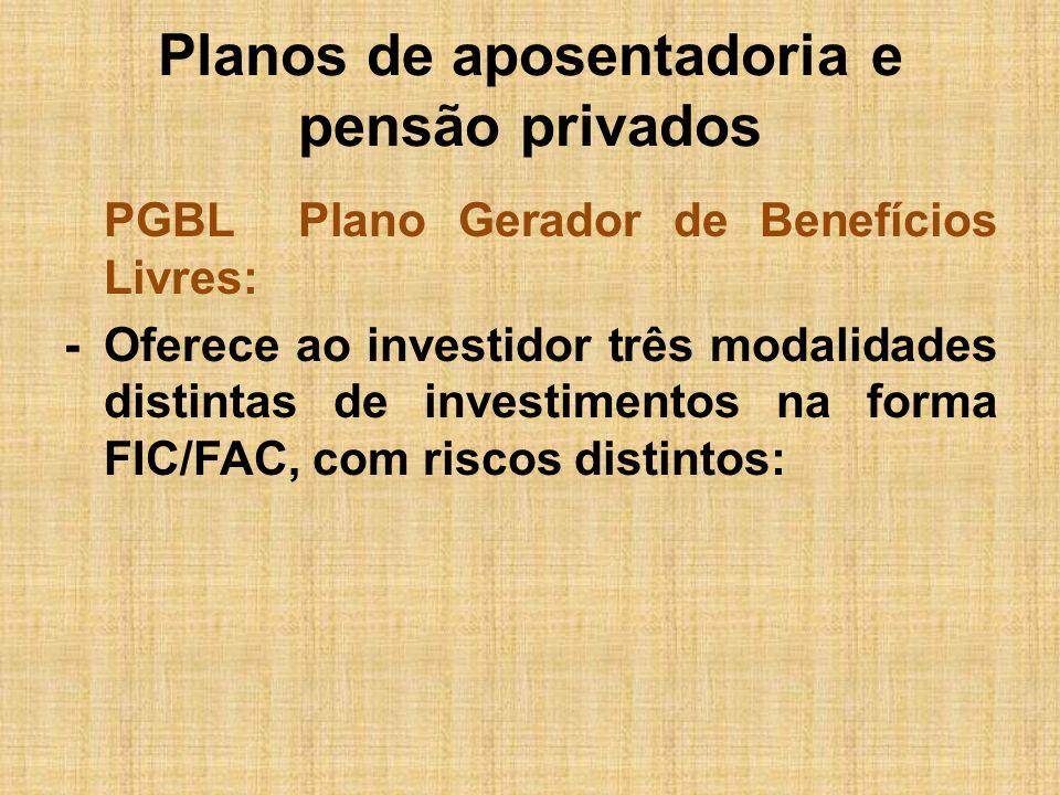 Planos de aposentadoria e pensão privados PGBL Plano Gerador de Benefícios Livres: -Oferece ao investidor três modalidades distintas de investimentos