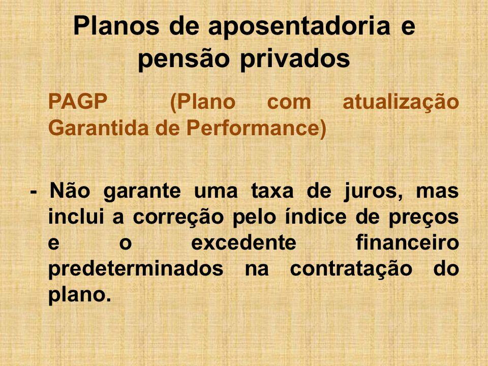 Planos de aposentadoria e pensão privados PAGP (Plano com atualização Garantida de Performance) - Não garante uma taxa de juros, mas inclui a correção