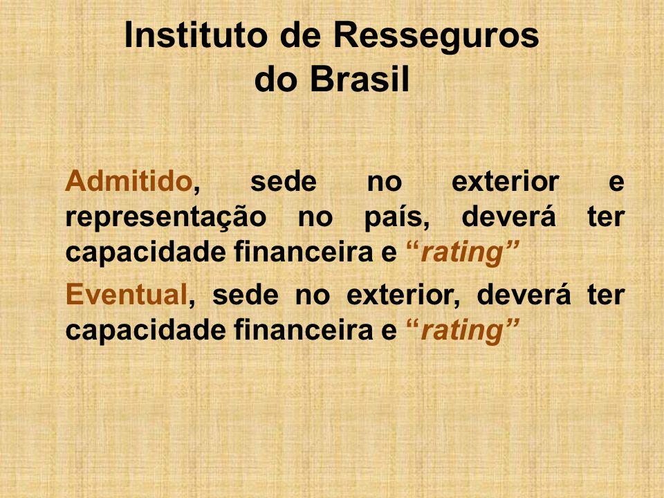 Instituto de Resseguros do Brasil Admitido, sede no exterior e representação no país, deverá ter capacidade financeira e rating Eventual, sede no exte