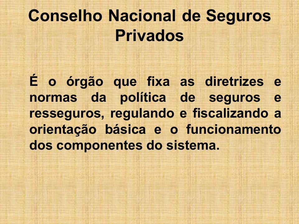 Conselho Nacional de Seguros Privados É o órgão que fixa as diretrizes e normas da política de seguros e resseguros, regulando e fiscalizando a orient