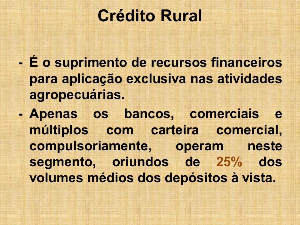 Crédito Rural -É o suprimento de recursos financeiros para aplicação exclusiva nas atividades agropecuárias. -Apenas os bancos, comerciais e múltiplos