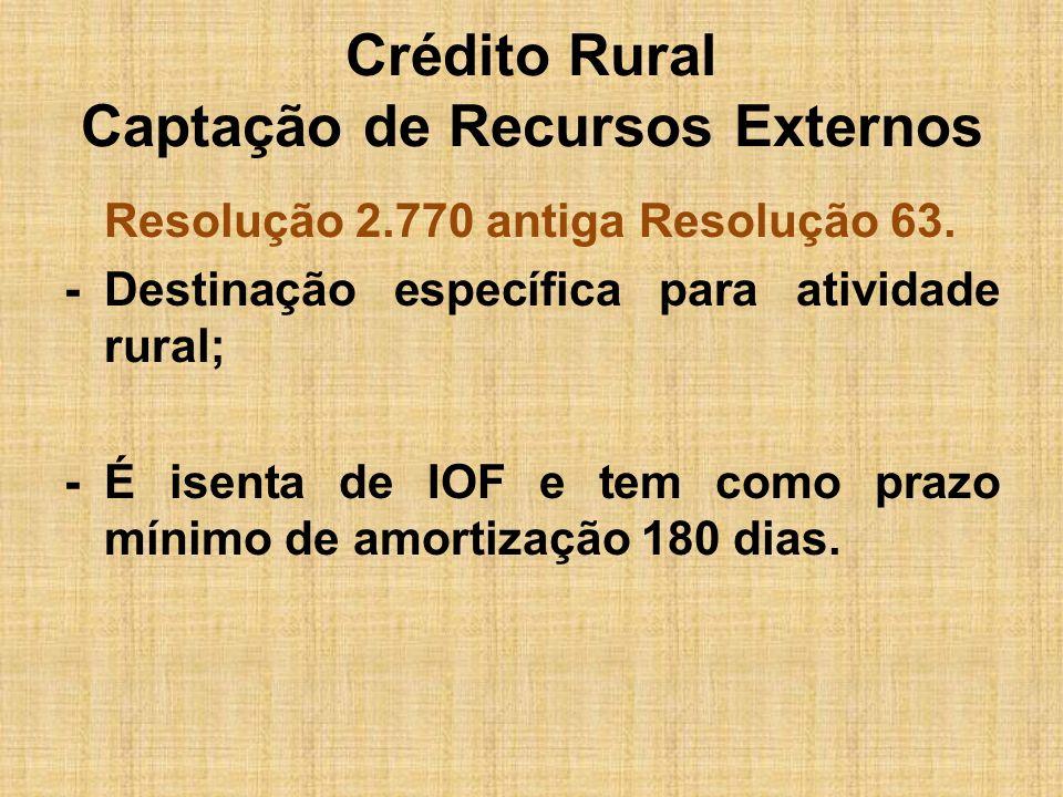 Crédito Rural Captação de Recursos Externos Resolução 2.770 antiga Resolução 63. -Destinação específica para atividade rural; -É isenta de IOF e tem c