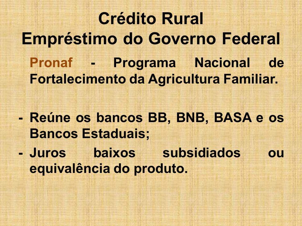 Crédito Rural Empréstimo do Governo Federal Pronaf - Programa Nacional de Fortalecimento da Agricultura Familiar. -Reúne os bancos BB, BNB, BASA e os