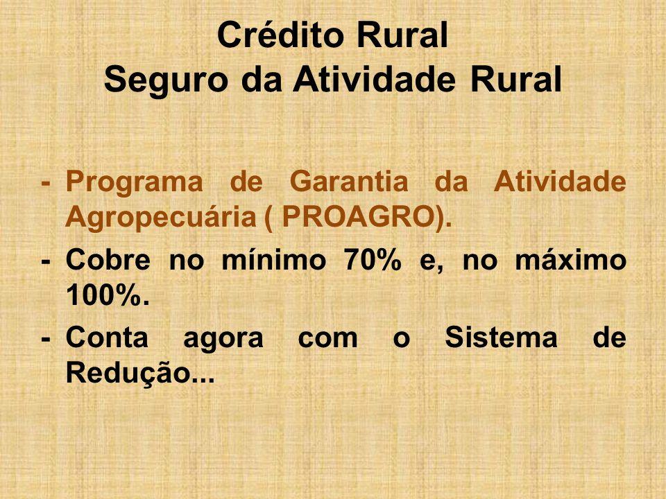 Crédito Rural Seguro da Atividade Rural -Programa de Garantia da Atividade Agropecuária ( PROAGRO). -Cobre no mínimo 70% e, no máximo 100%. -Conta ago
