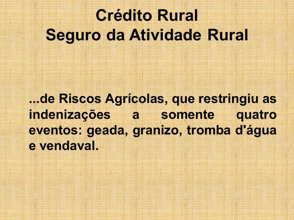 Crédito Rural Seguro da Atividade Rural...de Riscos Agrícolas, que restringiu as indenizações a somente quatro eventos: geada, granizo, tromba d'água