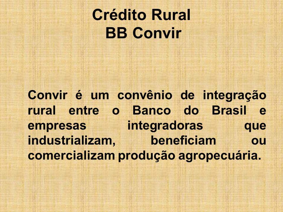 Crédito Rural BB Convir O convênio permite financiar a atividade desenvolvida pelos produtores rurais integrados a essas empresas, em custeio ou investimento, por meio das diversas linhas de crédito rural disponíveis.